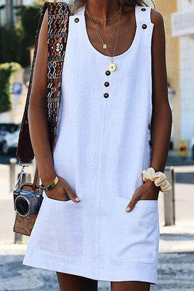 Pockets Casual Sleeveless Dress
