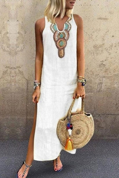 Print Sleeveless Casual Boho Dress