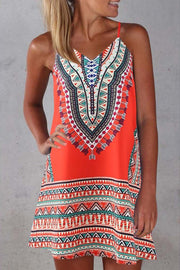Spaghetti Strap Print Sleeveless Dress