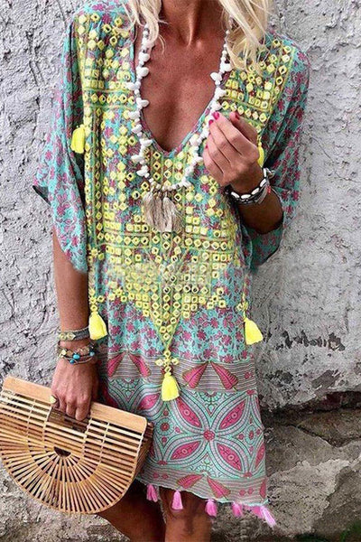 Print Half Sleeve Boho Dress