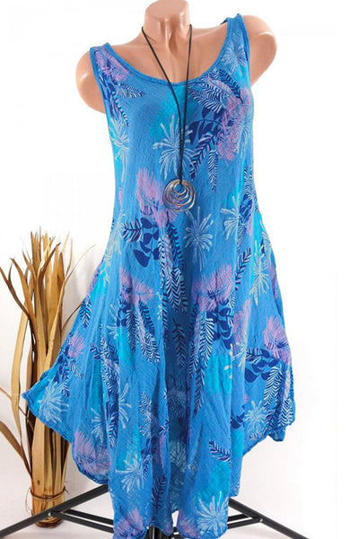 Round Neck Asymmetric Print Dress