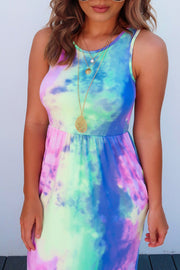 Tie-dye Print Ankle Length Dress