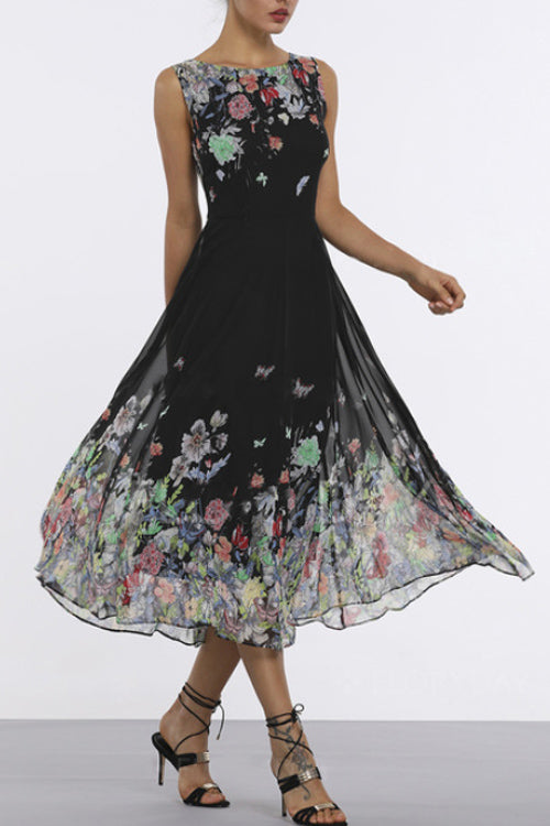Print Chiffon Sleeveless Floral Dress