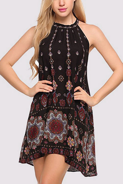 Halter Neck Boho Print Dress