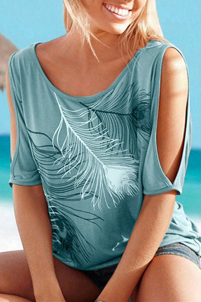 Cold Shoulder Feather Print Top