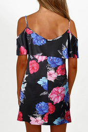 Cold Shoulder Floral Mini Dress