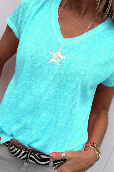 Star V-Neck Casual T-shirt