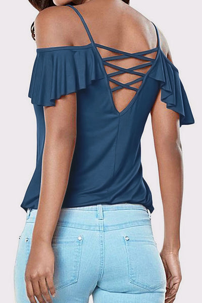Cold Shoulder Ruffle Sleeve T-Shirt