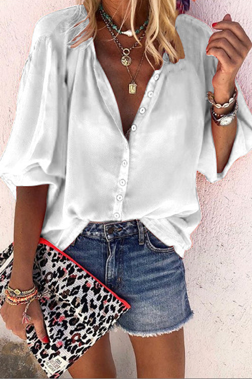 Button Down Loose Blouse