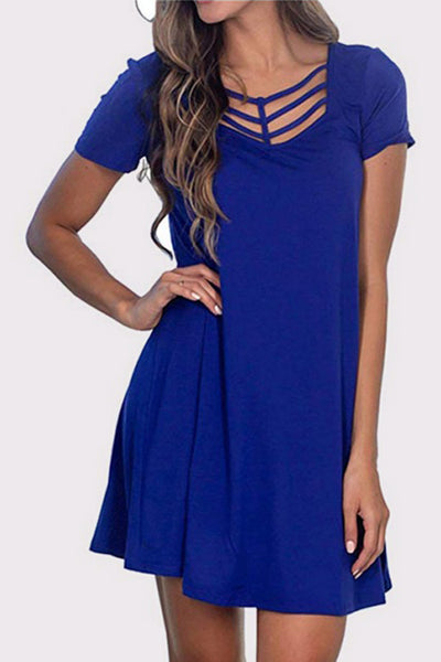 Cross Collar Short Sleeve Dress
