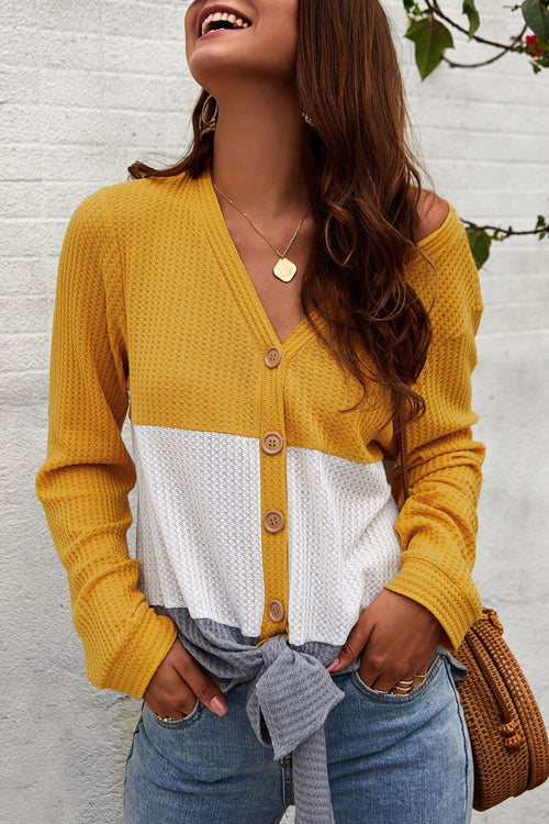 Splice Color Knot Button Sweater