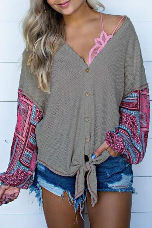 Splice Flower Long Sleeve Knot Sweater