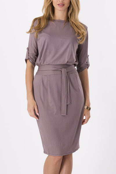 Stylish Belted Half Sleeve Buttoned Dress
