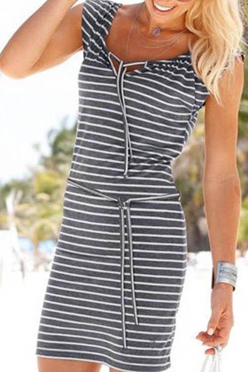 Striped Strappy Casual Dress