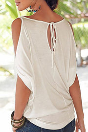 Round Neck Shoulder Hollow T-shirt