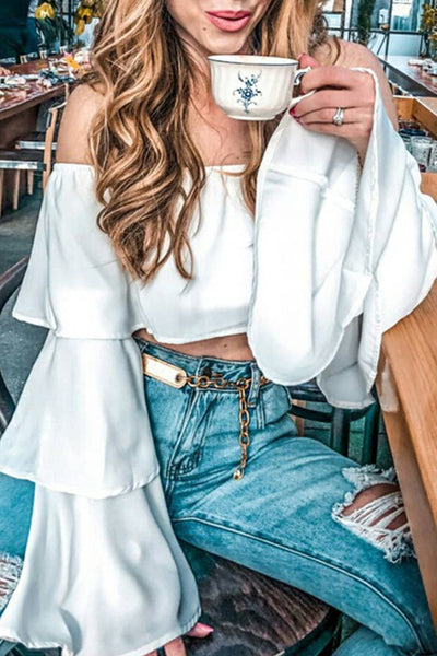 Off Shoulder Tiered Sleeve Crop Top