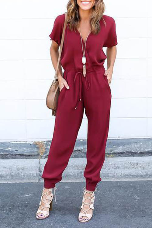 Casual Drawstring Jumpsuit