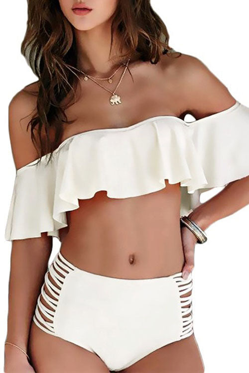 Ruffles Off Shoulder High Waist Bikini Set