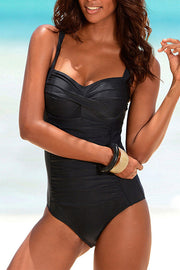Casual Ruched Molded Tankini