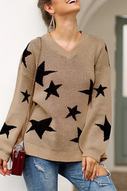 Star Print V Neck Loose Sweater
