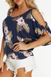 Printed Cold Shoulder Back Lace-up Casual Blouse
