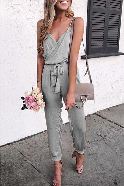 Spaghetti Straps Belted Jumpsuit