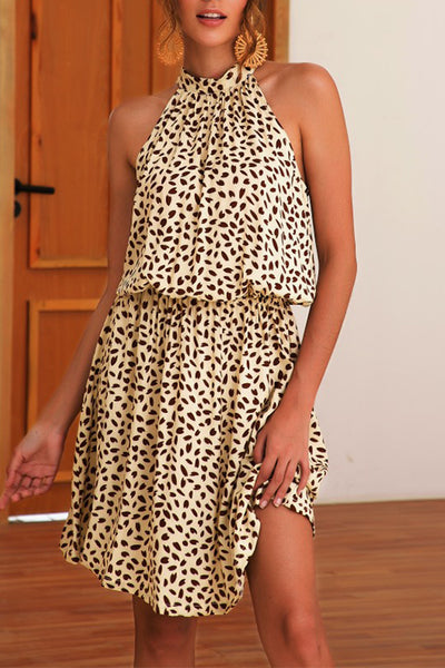 Spring Printed Halter Neck Dress