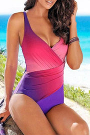 Patchwork Gradient High Leg Tankini