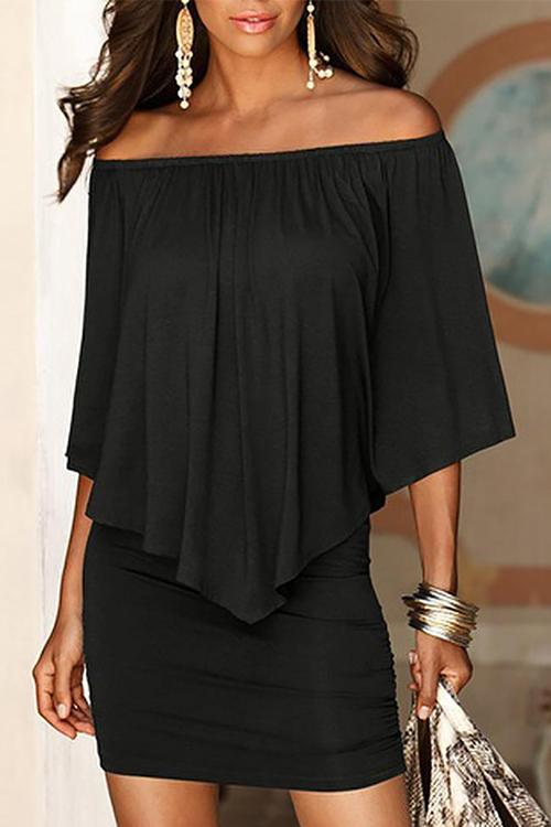 Casual Off Shoulder Irregular Cutout Ruched Design Dress