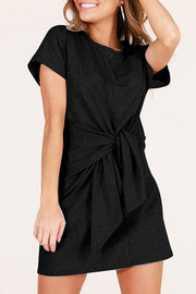 Front Bow-tie Belted Dress