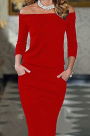 Elegant Slash Neck Pocket Bodycon Pencil Dress