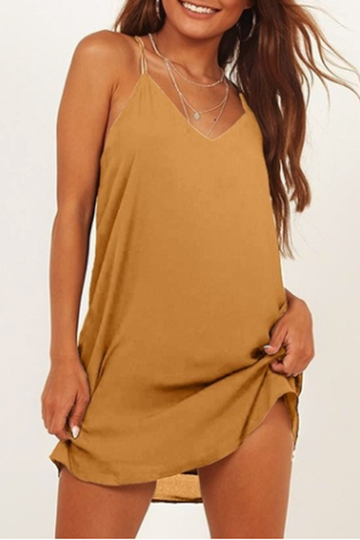 Deep V-Neck Loose Dress