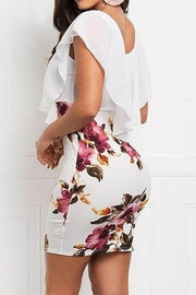 Chiffon Fake Two-Piece Print Dress