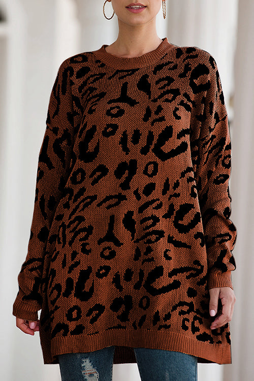 Leopard Print Loose Fit Sweater