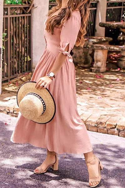 Tied Sleeve Button Maxi Dress