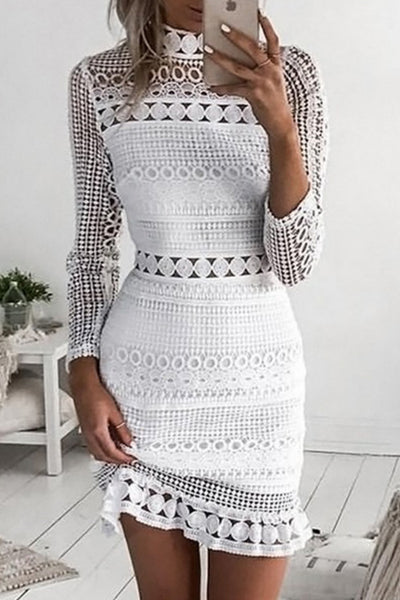Lace Splicing Hollow-out Bodycon Dress