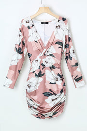 Flower Print Ruched Bodycon Dress
