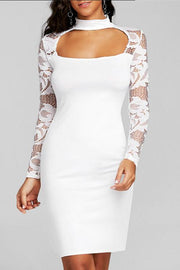 Lace Splicing Front Cutout Bodycon Dress