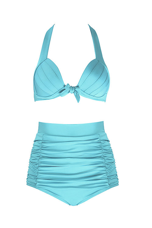 Stylish Ruched High Waist Bikini