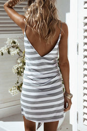 Stripe Waist Bow-tie Backless Dress