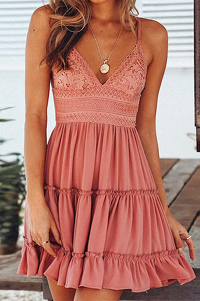 Flounced Bow-tie Back Ruched Lace Slip Dress