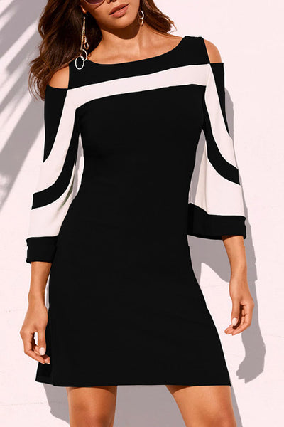 Flare Sleeves Contrast Color Cold Shoulder Dress