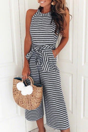Striped Halter Bow-tie Belted Wide Leg Jumpsuit