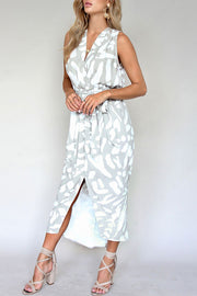 Trendy Print Sleeveless Belted Dress
