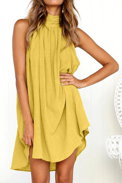 Stylish Halter Neck Ruched Loose Dress