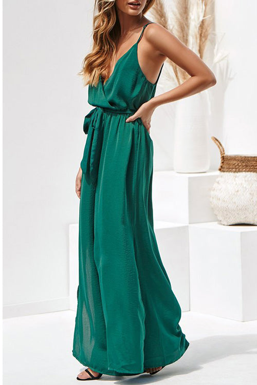 Spaghetti Straps Belted Slit Jumpsuit