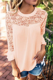 Chiffon Lace Splicing Ruffles Cuffs Top
