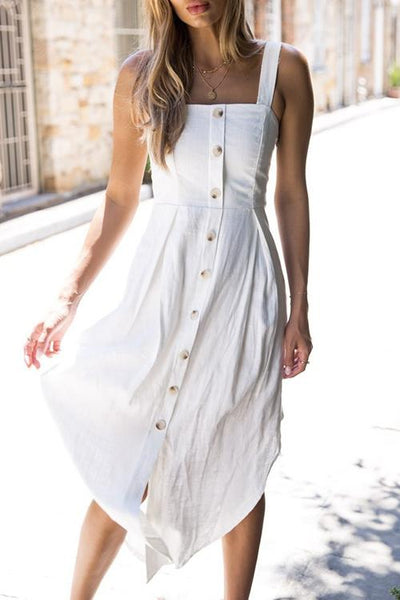Braces Button Down Midi Dress