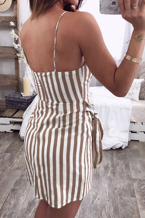 Flank Bow-knot Embellished Stripe Slip Dress