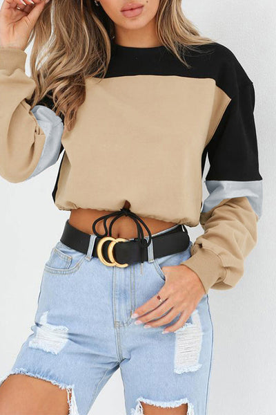 Contrast Color Drawstring Crop Top